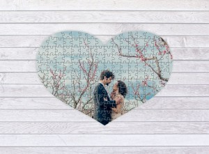 Heart shaped photo puzzle - 150 pieces - 46 x 66 cm in a bag